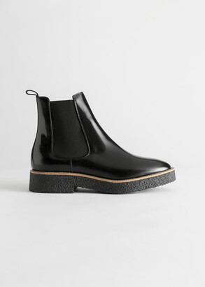 And other stories Leather Platform Sole Chelsea Boots
