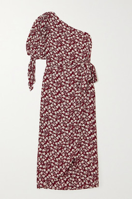 Reformation Rainey One-sleeve Floral-print Georgette Midi Dress - Red