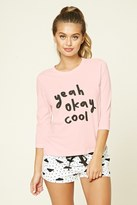 Forever 21 FOREVER 21+ Yeah Okay Cool Graphic PJ Set