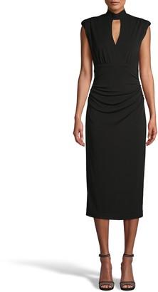 Nicole Miller Stretchy Matte Jersey Mock Neck Midi Dress