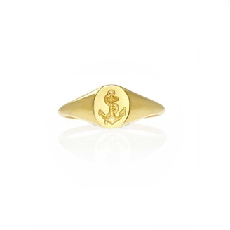 Mini Anchor Signet Ring Solid Gold