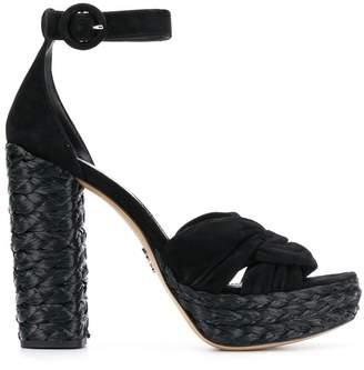 Prada woven block heel sandals