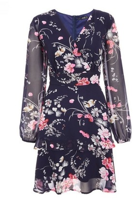 Dorothy Perkins Womens Quiz Navy Floral Print Skater Dress