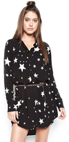 Michael Lauren Charlie Button Up Shirt Dress in Black Star