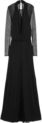 Versace Layered Open Knit-paneled Silk Gown