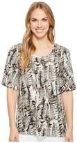 Tribal Printed Slub Flutter Sleeve Scoop Neck Top Women's Clothing