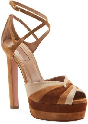 Aquazzura La Di Da Plateau Colorblock Suede Platform Sandals