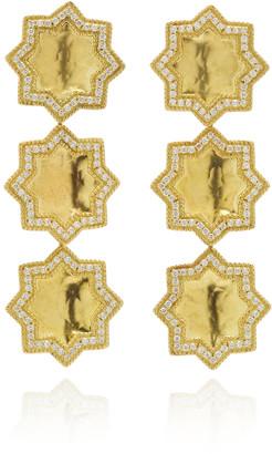 Amrapali Triple Star 18K Gold And Diamond Earrings