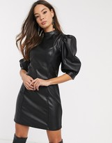 Vero Moda leather look puff sleeve mini dress in black