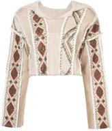 Oscar de la Renta embroidered shearling hoodie