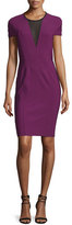 Yigal Azrouel Short-Sleeve Mesh-Inset Sheath Dress, Beet/Multi