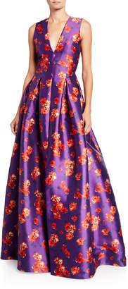 Sachin + Babi Brook Floral V-Neck Sleeveless Twill Ball Gown