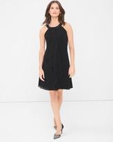 White House Black Market Embellished Neck Black Ruffle Front Dress