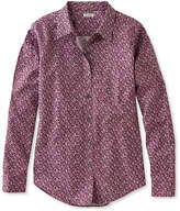 L.L. Bean Wrinkle-Free Pinpoint Oxford Shirt, Long-Sleeve Relaxed Fit Floral