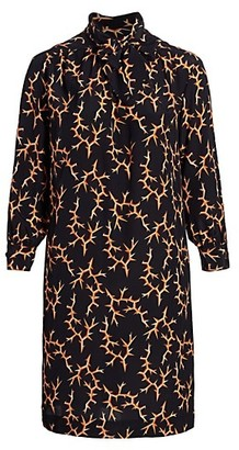 Baacal, Plus Size Thorn-Print Scarf-Neck Silk Dress