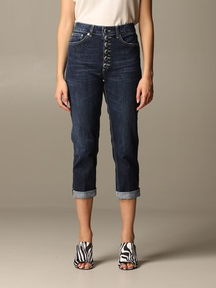 Dondup Jeans In Used Denim With Jewel Buttons