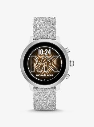 Michael Kors MKGO Silver-Tone Embellished Silicone Smartwatch