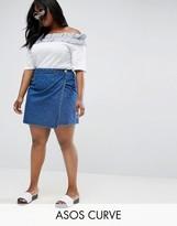 Asos Denim Wrap Skirt In Midwash Blue