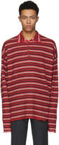 Maison Margiela Red Long Sleeve Striped Distressed Polo