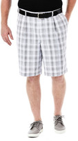 Haggar Big & Tall Cool 18 Check Short - Classic Fit, Pleated Front, Hidden Expandable Waistband