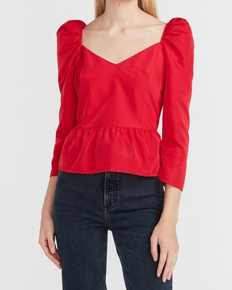 Express Puff Sleeve Sweetheart Taffeta Peplum Top