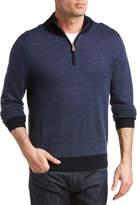 Brooks Brothers Birds Eye 1/2-Zip Merino Wool Sweater