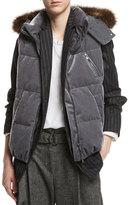 Brunello Cucinelli Velvet Puffer Vest with Fur-Trim Hood