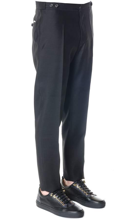 DSQUARED2 Black Wool-silk Blend Tailored Trousers