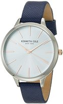 Kenneth Cole New York Women's 'Classic' Quartz Stainless Steel and Leather Dress Watch, Color:Blue (Model: KC15056003)