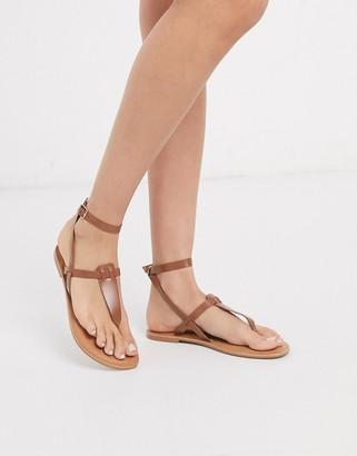 Asos Design DESIGN Fennel leather toe post sandal in tan
