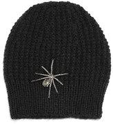 Jennifer Behr Crystal Spider Knit Beanie Hat, Black