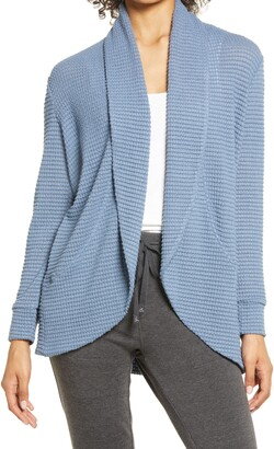 Gibson Open Front Thermal Knit Cardigan