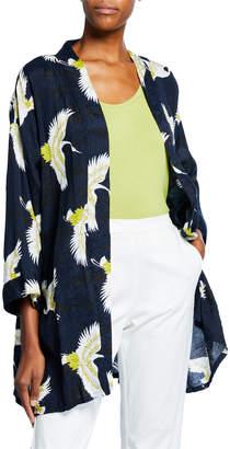 Masai Josslyn Crane-Print Open-Front Shantung Kimono Jacket