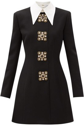 Andrew Gn Oversized-collar Crystal-brooch Wool-blend Dress - Black