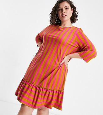 Vero Moda Curve mini smock dress in brown print