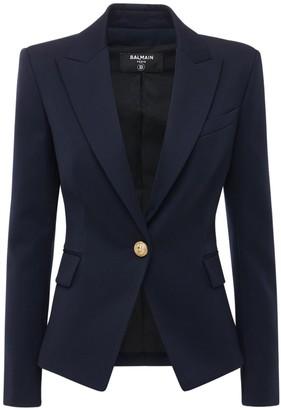 Balmain Single Breasted Cool Wool Blazer