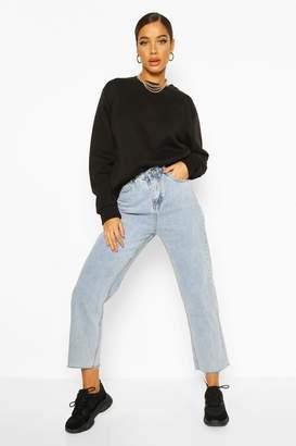 boohoo Button Waist Detail Washed Straight Leg Jean