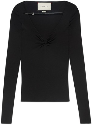 Gucci Fine viscose V-neck long sleeve top