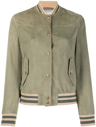 Eleventy Striped-Trim Suede Jacket