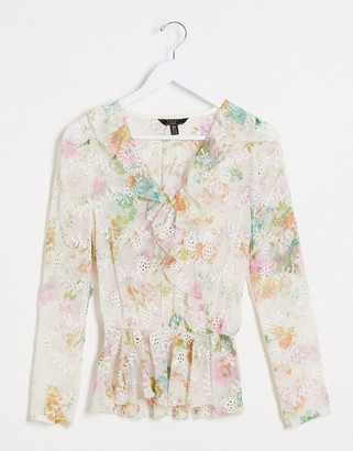 Lipsy x Abbey Clancy frill broderie top in cream floral print