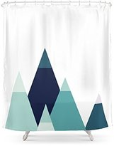 """Society6 Abstract Mountains Print Blue Geometric Decor Navy Illustration Vector Gift For Him Art Shower Curtain 71"""" by 74"""""""