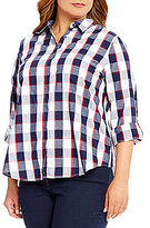 Allison Daley Plus Plaid Roll-Tab Sleeve Blouse