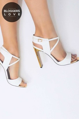 Paper Dolls Footwear Luella White Cut Out Heeled Sandals