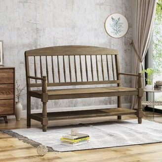 Alcott Hill Julianna Solid Wood Storage Shelves Bench Color: Gray