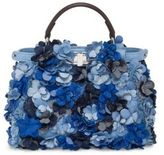 Fendi Mini Peekaboo Floral-Embellished Denim Satchel