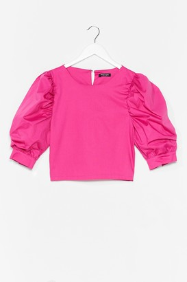 Nasty Gal Womens Sleeve It Out Puff Sleeve Cropped Blouse - Pink - 6