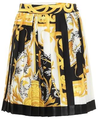 Versace Baroque-print silk-faille miniskirt