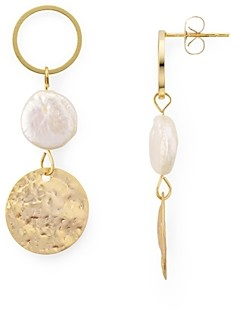 Jules Smith Designs Circle, Cultured Freshwater Pearl & Disc Triple Drop Earrings