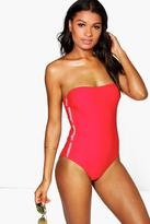 Boohoo Aruba Lifeguard Bandeau Swimsuit
