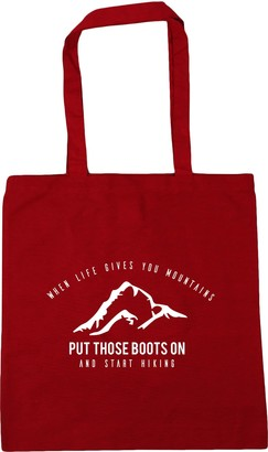 HippoWarehouse When life gives you mountains put those boots on and start hiking Tote Shopping Gym Beach Bag 42cm x38cm 10 litres
